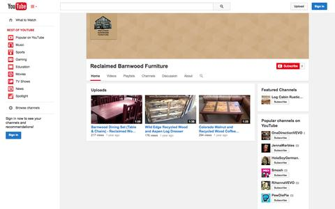 Screenshot of YouTube Page youtube.com - Reclaimed Barnwood Furniture  - YouTube - captured Oct. 26, 2014