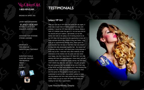 Screenshot of Testimonials Page vipglamgirl.com - TESTIMONIALS - ®VIP Glam Girl. - captured Jan. 13, 2016