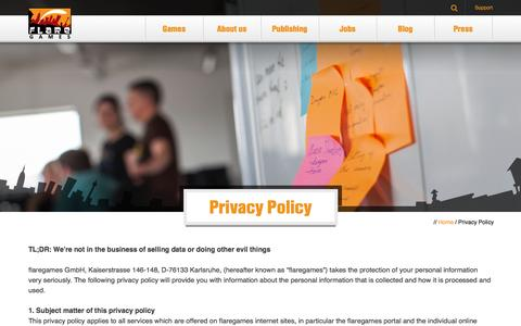 Screenshot of Privacy Page flaregames.com - Privacy Policy   flaregames - captured Oct. 22, 2014