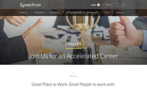 Screenshot of Jobs Page synechron.com - Careers | Synechron - captured Feb. 16, 2019