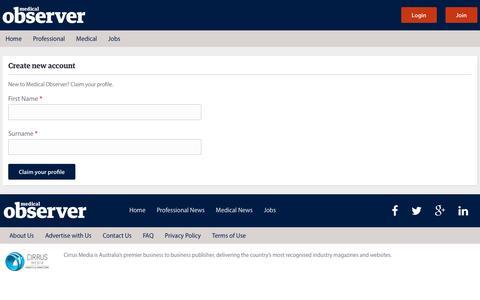 Screenshot of Signup Page medicalobserver.com.au - User account | Medical Observer - captured Jan. 19, 2016