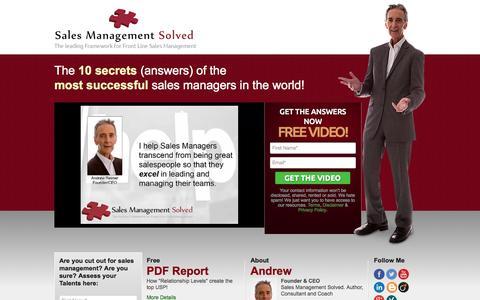 Screenshot of Home Page salesmanagementsolved.com - Framework for Front Line Sales Managers, Sales Management Strategy - captured Sept. 30, 2014