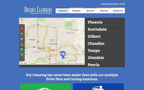 Screenshot of Locations Page deliascleaners.com - Locations - Delias Cleaners - captured Jan. 7, 2016