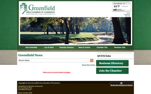 Screenshot of Press Page greenfieldcc.org - Greenfield  News | Greenfield | Greenfield Area Chamber of Commerce | Greenfield, IN | Greenfield Area Chamber of Commerce | Greenfield, IN - captured Oct. 3, 2014
