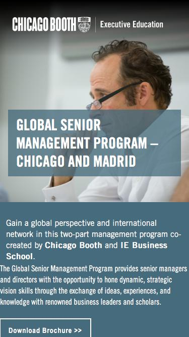 Executive Education at Chicago Booth | Global Senior Management Program – Chicago and Madrid