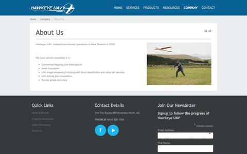 Screenshot of About Page hawkeyeuav.com - About Us - HAWKEYE UAV - captured Oct. 2, 2014