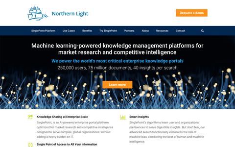 Screenshot of Home Page northernlight.com - Home - Northern Light - Machine learning powered knowledge management - captured July 16, 2018