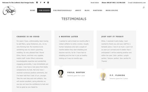 Screenshot of Testimonials Page lemetric.com - Testimonials – The LeMetric Hair Design Studio - captured Sept. 27, 2018