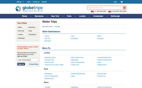 Screenshot of Site Map Page globetrips.com - London Attractions, London Sightseeing Tours, Paris Tours, Bus Tours - Globe Trips - captured Sept. 30, 2014