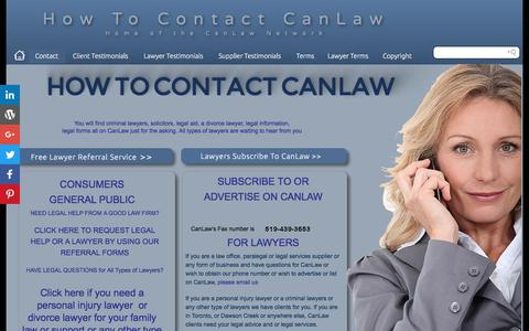 Screenshot of Contact Page canlaw.com - Contact us Phone address and email contact information for CanLaw CanLaw contacts - captured June 29, 2017