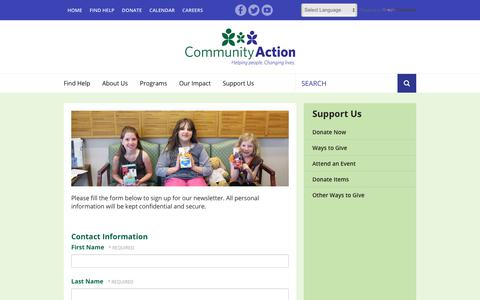 Screenshot of Signup Page caowash.org - Community Action : Support Us : Sign Up for Email Updates - captured Sept. 28, 2018