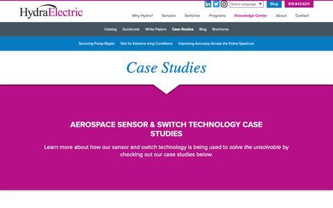 Screenshot of Case Studies Page hydraelectric.com - Aerospace Sensor & Switch Technology Case Studies - captured Dec. 13, 2018