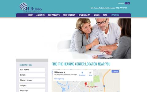 Screenshot of Contact Page Locations Page shrussoaudiology.com - SH Russo Audiological Services, PA - Find a Location Near You - captured April 21, 2017