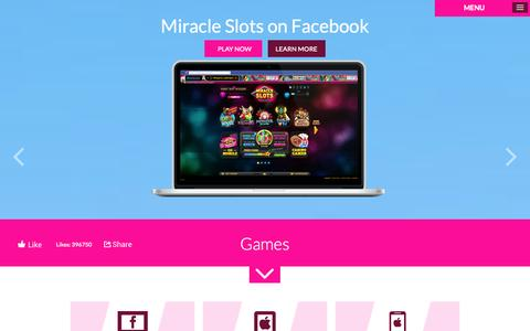 Screenshot of Home Page miracleslots.net - Miracle Slots & Casino - captured Oct. 2, 2014