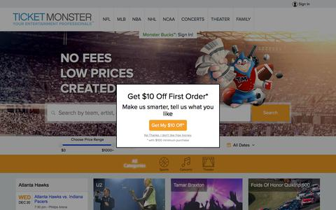 Screenshot of Home Page ticketmonster.com - Tickets | Ticket Monster - Sports, Concerts, Theater Events - captured Dec. 20, 2017