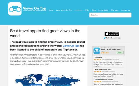 Screenshot of Locations Page viewsontop.com - The best travel app to find the best views - captured Aug. 13, 2015