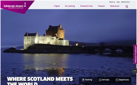 Screenshot of Home Page edinburghairport.com - Edinburgh Airport - Where Scotland Meets The World - captured July 3, 2015