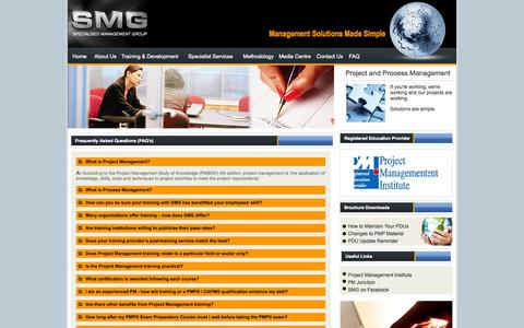 Screenshot of FAQ Page smg-me.com - FAQ's-Project Management Training-Program Management Courses - captured Oct. 6, 2014