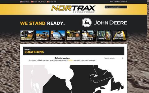 Screenshot of Locations Page nortrax.com - Nortrax-aJohnDeereConstructionandForestryDealer - Locations - captured Jan. 11, 2016