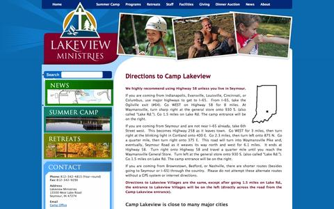 Screenshot of Maps & Directions Page camplakeview.com - Directions to Camp Lakeview | Lakeview Ministries -- Summer Camp and Retreat Center - captured Oct. 1, 2014