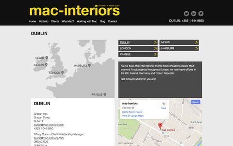 Screenshot of Contact Page Locations Page mac-interiors.com - DUBLIN | Mac Interiors - captured Oct. 23, 2014