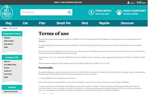 Screenshot of Terms Page petcircle.com.au - Terms of use | Pet Circle - captured May 5, 2017