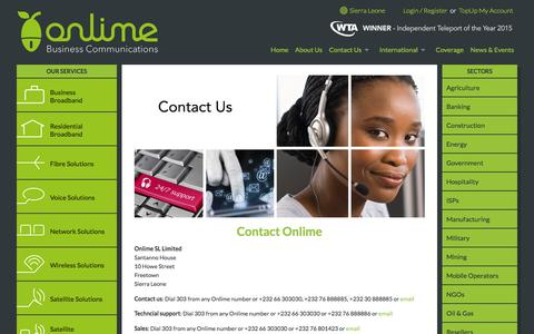 Screenshot of Contact Page onlime.com - Contact Us - Contact a member of the Onlime Team - captured Dec. 26, 2016