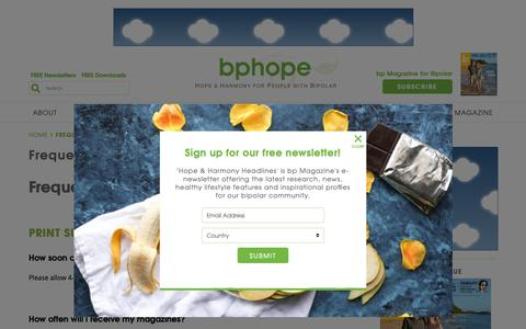 Screenshot of FAQ Page bphope.com - Frequently Asked Questions - bpHope : bpHope - captured Sept. 30, 2018
