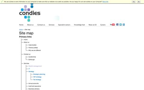 Screenshot of Site Map Page condie.co.uk - Site map | Condies | Chartered Accountants & Business Advisers | Dunfermline & Edinburgh - captured Oct. 3, 2014