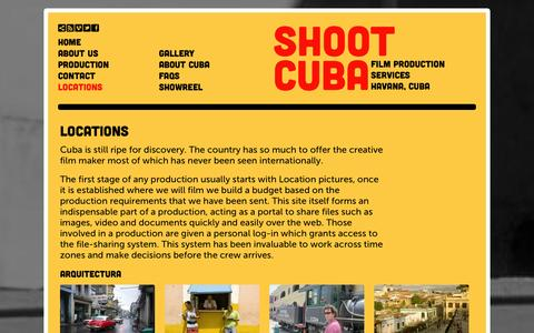 Screenshot of Locations Page shootcuba.com - Shoot Cuba - captured Oct. 9, 2014