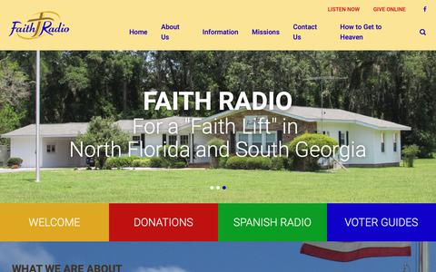 Screenshot of Home Page faithradio.us - Faith Radio Network, Inc - captured Oct. 30, 2018