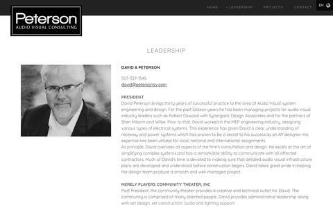 Screenshot of Team Page petersonav.com - Leadership   Peterson AV Consulting, Inc. - captured Nov. 10, 2018