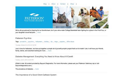 Screenshot of Blog pattersonvet.com - Patterson Vet Blog | Patterson Veterinary - captured May 16, 2019