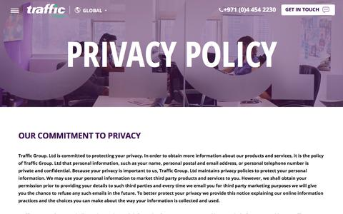 Screenshot of Privacy Page wewanttraffic.com - Website Privacy and Security Statement - Traffic Digital - captured Sept. 24, 2018