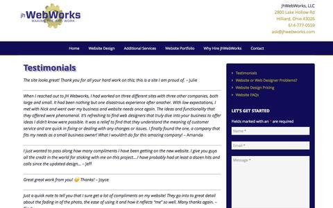 Screenshot of Testimonials Page jhwebworks.com - Website design clients say great things about Columbus' jhWebWorks - captured June 8, 2017