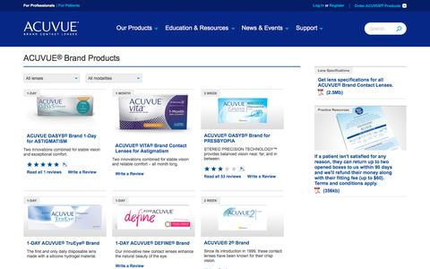 Screenshot of Products Page acuvueprofessional.com - ACUVUE® Brand products overview   VISTAKON® - captured Nov. 30, 2017