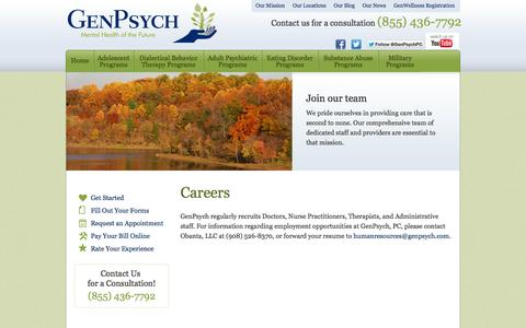 Screenshot of Jobs Page genpsych.com - Careers | GenPsych - captured Oct. 2, 2014