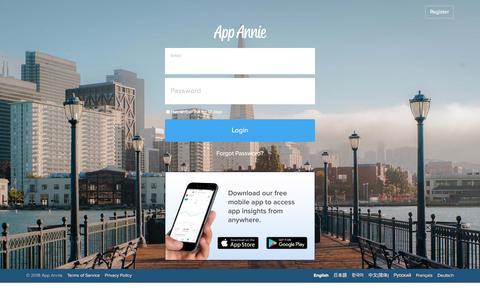 Screenshot of Support Page appannie.com - Login - App Annie - captured Jan. 24, 2018