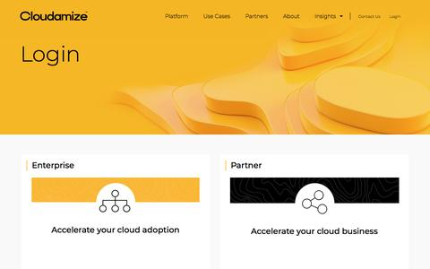Screenshot of Login Page cloudamize.com - Cloudamize – Maximize the value of your cloud - captured July 11, 2019