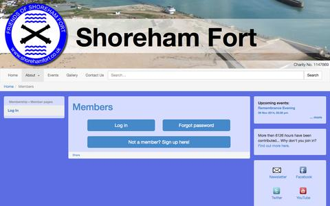 Screenshot of Login Page shorehamfort.co.uk - Shoreham Fort - captured Oct. 26, 2014