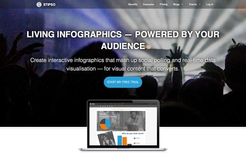 Screenshot of Home Page stipso.com - Stipso — people-powered infographics - captured Feb. 24, 2016
