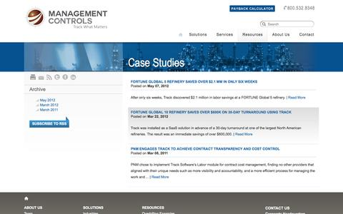 Screenshot of Case Studies Page tracksoftware.com - Management Controls  	 > Case Studies - captured Oct. 4, 2014