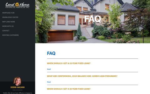 Screenshot of FAQ Page lhfs.com - FAQ   Land Home Financial Services - captured Oct. 25, 2018