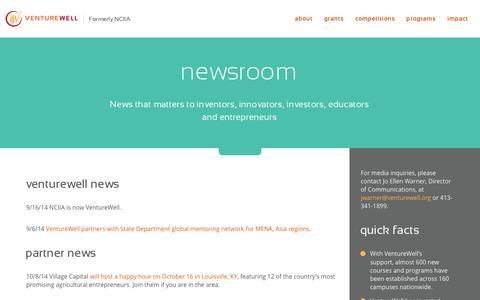 Screenshot of Press Page venturewell.org - VentureWell  newsroom - captured Nov. 5, 2014