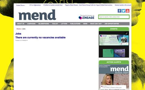 Screenshot of Jobs Page iengage.uk.net - Jobs Archives - MEND - captured Oct. 1, 2014