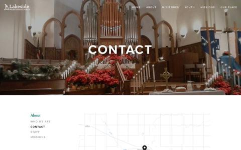 Screenshot of Contact Page stormlakepresby.org - Contact — Lakeside Presbyterian Church - captured Sept. 26, 2018