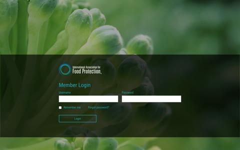 Screenshot of Login Page foodprotection.org - International Association for Food Protection - captured Jan. 29, 2016