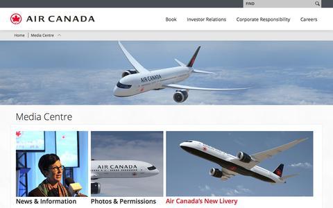 Screenshot of Press Page aircanada.com - Air Canada - Media Centre - captured Aug. 8, 2017