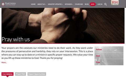 Screenshot of Signup Page partnersintl.org - Pray with us - Partners International-Partners International - captured July 14, 2017