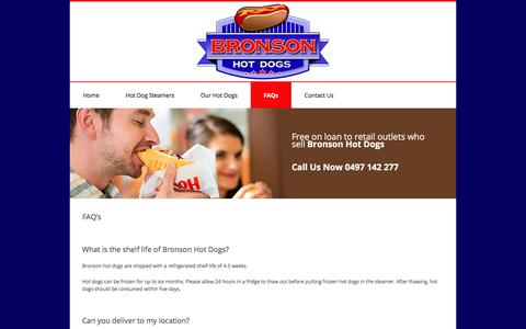 Screenshot of FAQ Page bronsonhotdogs.com.au - Buy Bulk Hot Dogs VIC, Rent Hot Dog Steamer Melbourne - Bronson Hot dogs, hot dog steamer machine, Bronsons hot dogs, Boss hogs hot dogs - captured Feb. 9, 2018